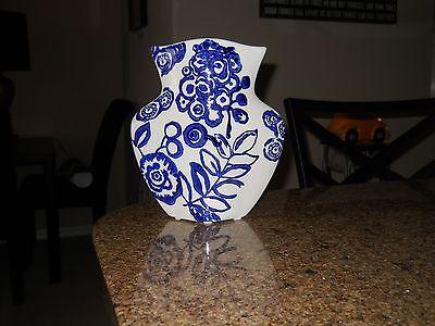 """Ceramic Delft Look Blue White Vase Cobalt 8"""" Tall Ceramic New Accent Piece"""