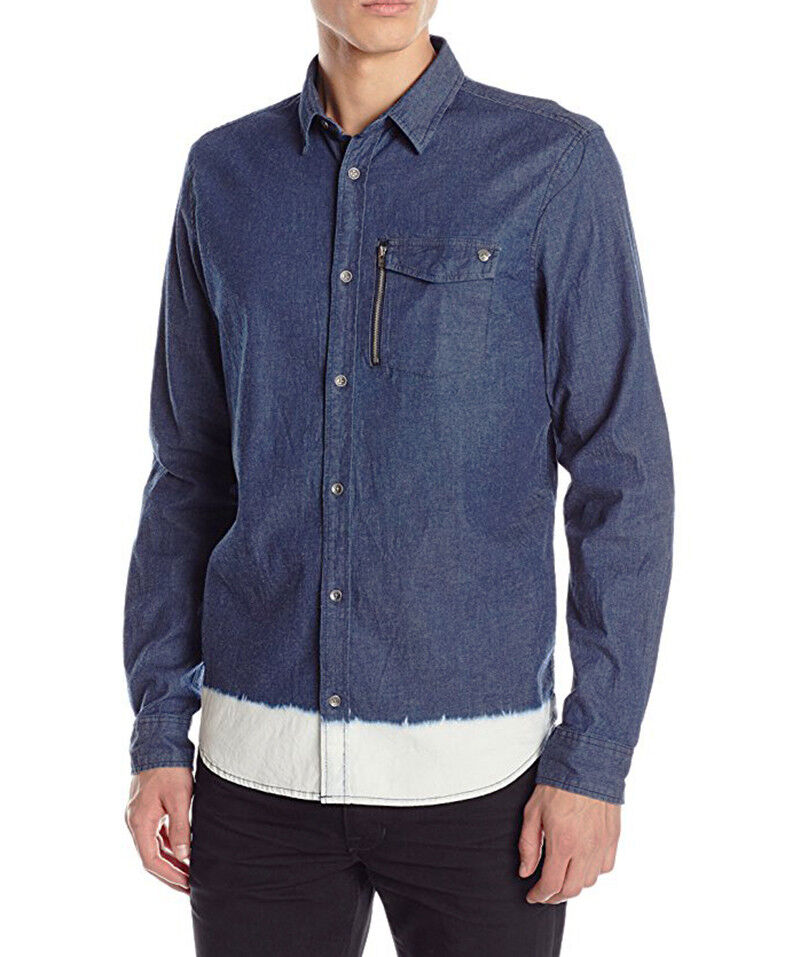 82f98d01 NEW MENS BUFFALO DAVID SIKASTO DIP-DYE INDIGO BUTTON SHIRT M FRONT BITTON  opkyoz536-Casual Button-Down Shirts