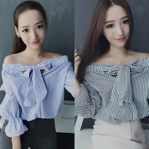 Summer-Women-Off-Shoulder-Crop-Top-Striped-Bowknot-Long-Sleeve-Blouse-T-shirt