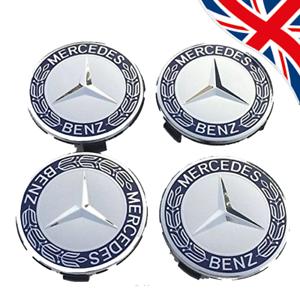 4x-Mercedes-Benz-Alloy-Wheel-Centre-Caps-75-mm-badges-Bleu-Hub-Embleme-s-039-adapte-a-toutes-les