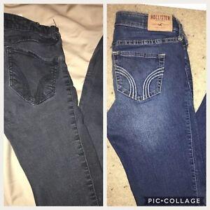 Para Mujer Hollister Denim Negro Super Skinny Jeans Aumento Altas Talla 5r 27x31 0r 24x33 Ebay