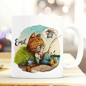Kindergeschirr & -besteck Obligatorisch Tasse Becher Träumende Kater Katze & Wunschname Name Kaffeetasse Geschenk Ts963
