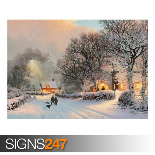 AE076 VILLAGE IN WINTER PAINTING NATURE POSTER Poster Print Art A0 A1 A2 A3