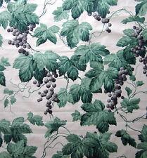 2m Vintage Sanderson BACCHUS Chintz Glazed Cotton Fabric Grapes Vine Green Mauve