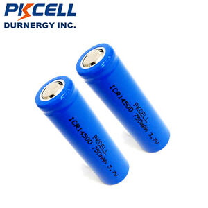 2x-ICR-14500-Li-ion-Rechargeable-Batteries-3-7V-750mAh-AA-Size-Battery-PKCELL