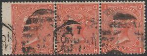 1870 SG94 4d bermellón wmk Liga placa 12 Usado En Buen Estado tira de 3 (og/oi)