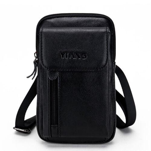 Men Genuine Leather Small Pouch Messenger Shoulder Bag Fanny Waist Belt Pack