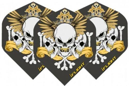 Darts Flights Set of 3 Black /& Gold Skull Std Shape Dart Flights 100 Micron