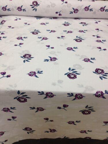 "Feuille tissu fleuri blanc//violet//bleu 100/% coton 94/"" 240 cm"