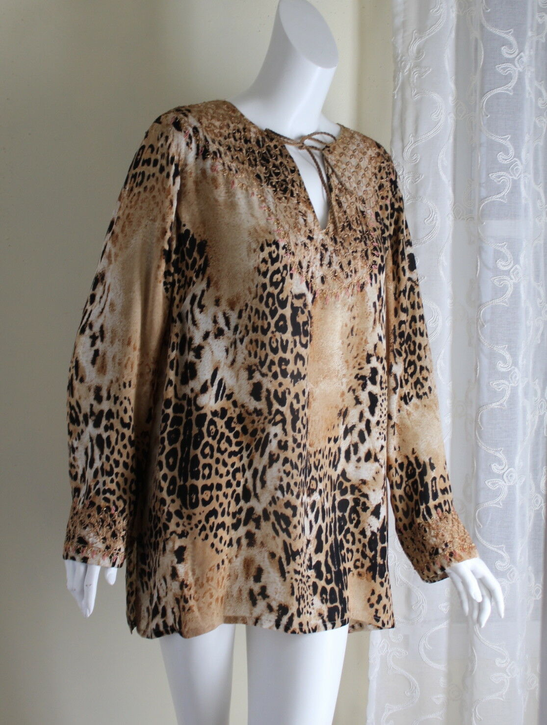 Dana Buchman Sz 16W 16 W Rich Animal Gorgeous Silk Leopard Tunic Shirt Top XL 1X