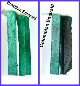 240 Ct 4 Pcs Brazilian & Colombian Emerald Gemstone Slice Rough Lot Natural