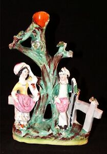 Antique-Staffordshire-Pottery-Ca-19th-C-Flatback-Spill-Vase-Couple-Man-Woman-Dog