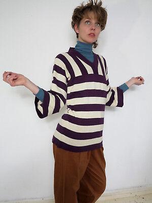 Tristar Pullover Lilla Bianco A Strisce Giurisprudenza 60er True Vintage 60s Sweater-mostra Il Titolo Originale