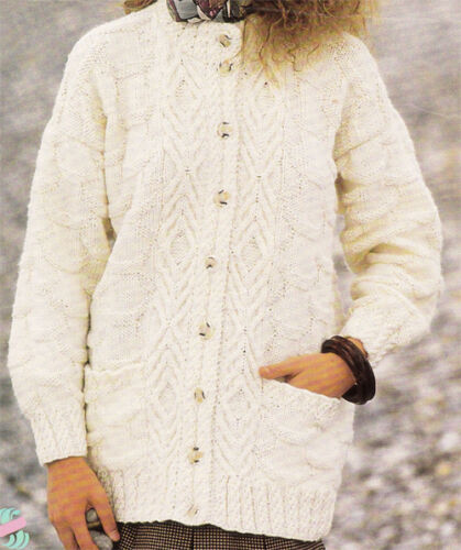 "Aran cable Cardigan chest 30-40/"" Knitting pattern-Ladies longer length"