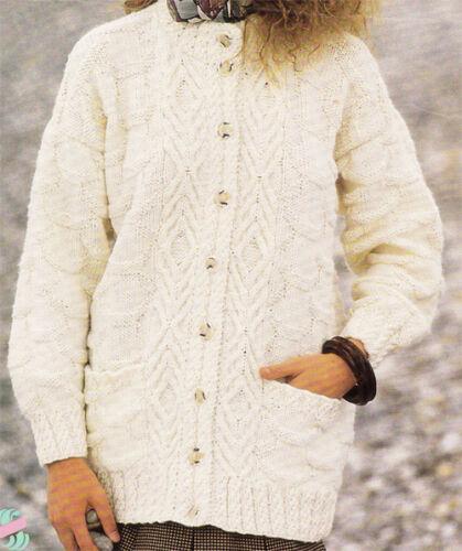 "Aran cable Cardigan chest 30-40/"" Knitting pattern-Ladies longer length"