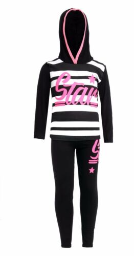 New Girls STAR Print Hooded Top /& Bottom Set Kids Tracksuit Loungwear Joggings