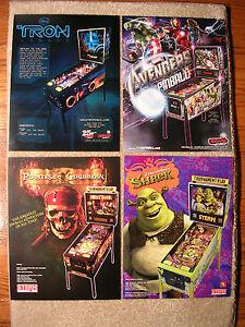 Stern-Pinball-Flyers-Tron-Avengers-Pirates-of-the-Caribbean-Shrek-New-Old-stock