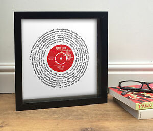 Framed song words personalised | Authentic Vinyl Record Label | FRAMED PICTURE