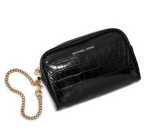 NEW-MICHAEL-KORS-CROC-EMBOSSED-LEATHER-WRISTLET-CLUTCH-BLACK-WITH-GOLD-CHAIN