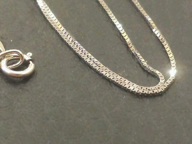 da83a838d 14k Solid White Gold Classic Box Necklace Pendant Chain 18