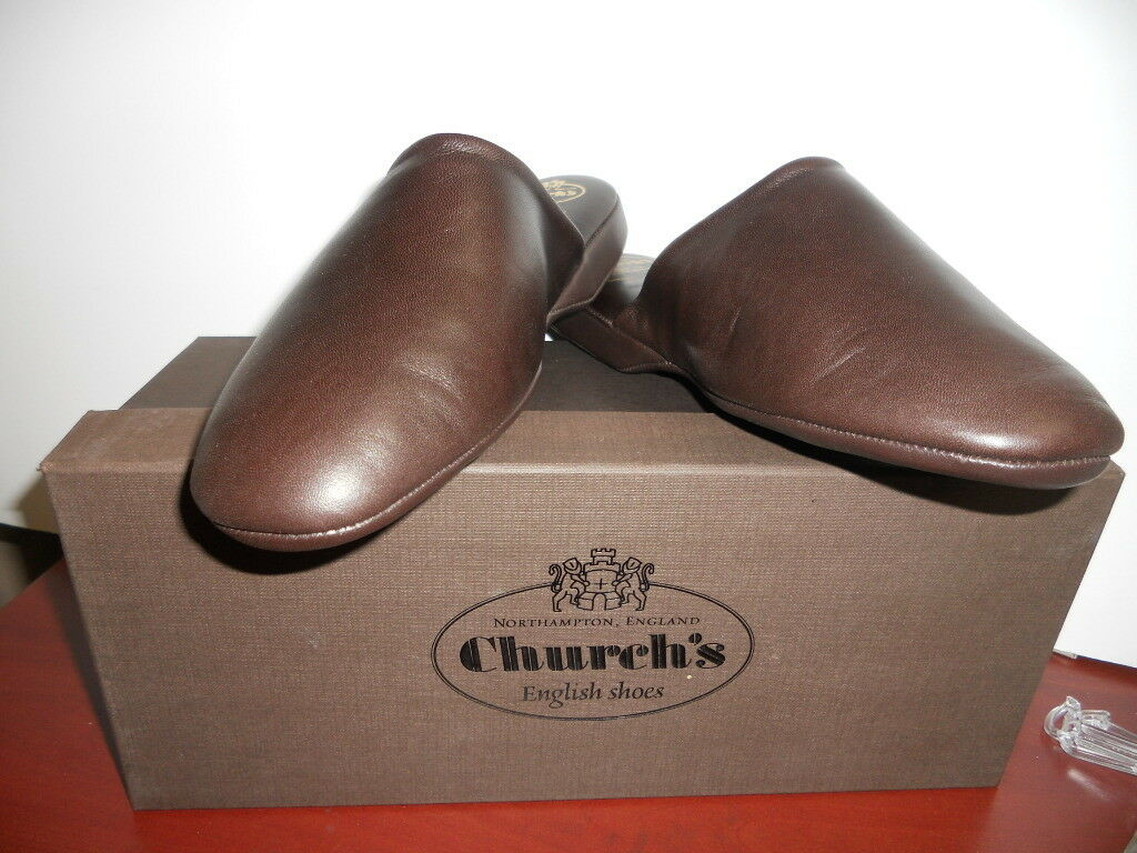 NEW IN BOX CHURCH'S MENS ARRAN 03  9009 14 Brown LEATHER SLIPPERS Sz - 6 M