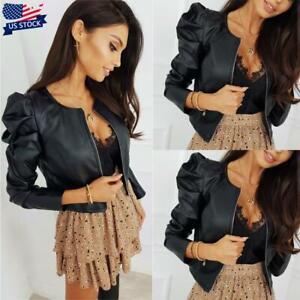 Women-Ladies-Faux-Leather-Long-Puff-Sleeve-Jacket-Punk-Slim-Fit-Zipper-Crop-Coat
