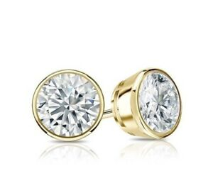 1-5-Ct-Round-Cut-Bezel-Diamond-Earrings-Solid-14k-Yellow-Gold-Screw-Back-Studs