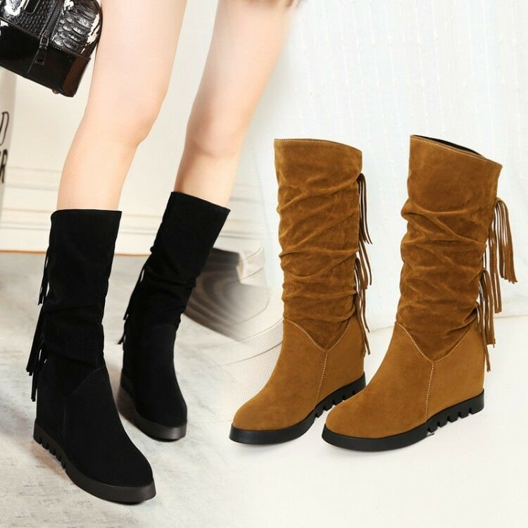 Women's Hidden Wedge Heel Mid-Calf Slouch Boots Tassel Faux Suede Casual shoes