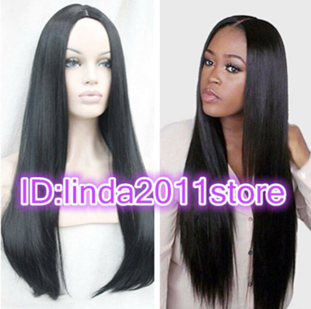 HQ-New sexy ladies wig long black Straight Natural Hair wigs +free wig cap