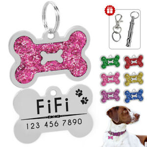 Glitter-Personalised-Dog-Tags-Free-Engraved-Cat-Puppy-Kitten-ID-Name-Tag-Whistle