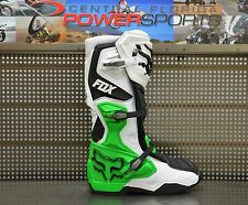 2017 Fox Racing Mens SE White Black Green Monster/PC Comp 8 MX Boots SIZE 10