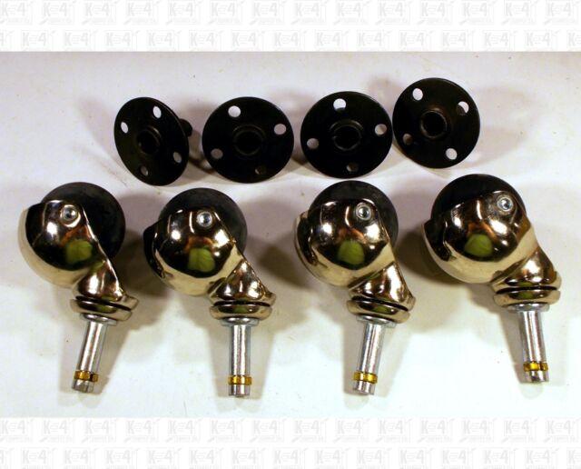 Kustom Ball Style Guitar Amp Speaker Casters Wheels Set Of Four +Sockets