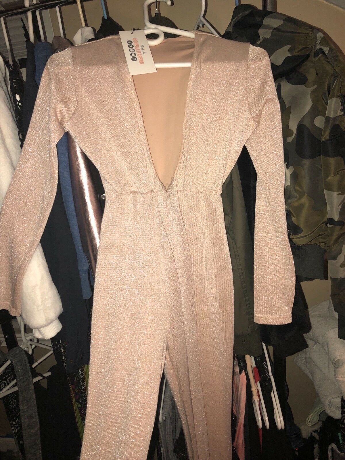 Womens pink bodysuit spandex deep V-cut with attached belt