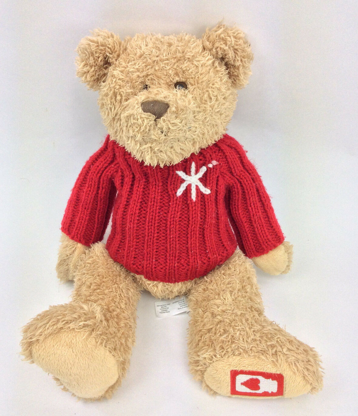 Yanke Candle Company Teddy Bear rosso Sweater Heart Foot Plush Stuffed 18