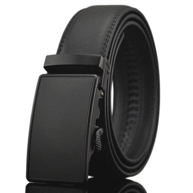 Luxury Mens Black Designer Leather Belt Automatic Buckle Waistband Waist Strap