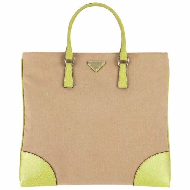 98bf8d7e3f42cb PRADA Khaki Canapa Canvas & Chartreuse Green Leather Tote Bag Purse