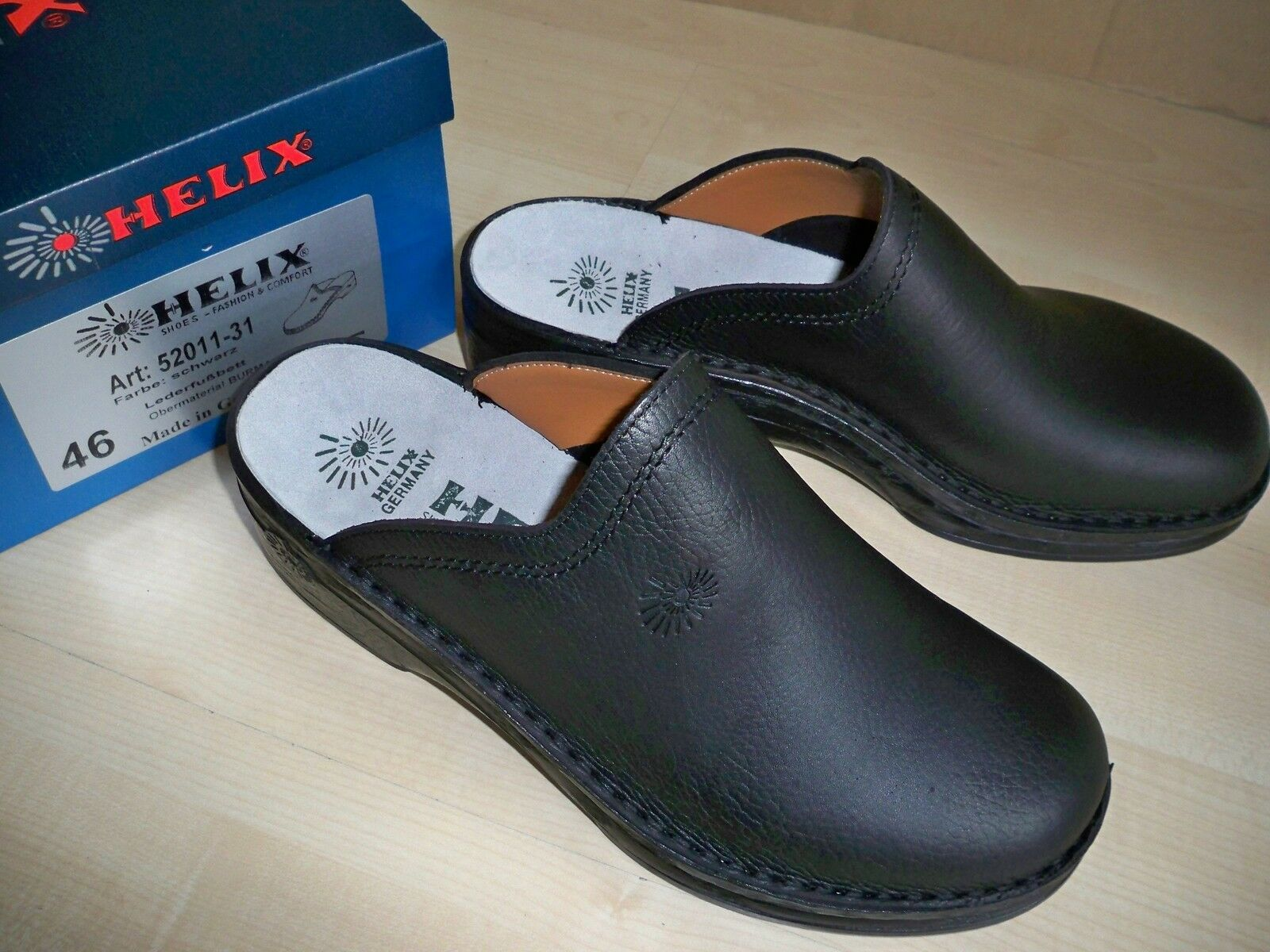 HELIX Pantoletten Clogs Made Negro Gr 41 Herren Made Clogs in Germany f67382