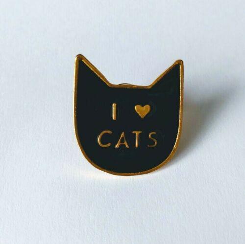 Enamel Cat Heart Brooch Pin Lapel Badge Organza Gift Bag UK SELLER