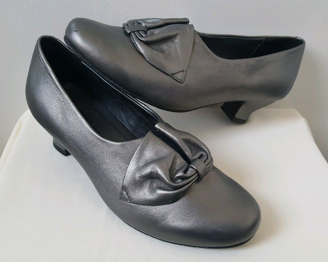 New Hotter women Leather Heel shoes UK 4 4 4 Standard Fit. Pewter Silver Bestsellers bc2565