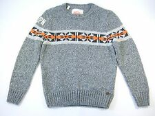 SUPER DRY SUPERDRY VINTAGE NORDIC KNIT GRAY XL WOOL BLEND CREWNECK SWEATER NEW