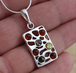 Multicolour-Baltic-Amber-925-Sterling-Silver-Pendant-Chain-Necklace-Boxed