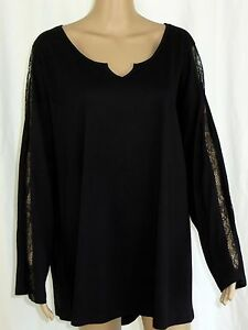 4b8221a20e9363 Ellos 1X Tunic Top Plus Size Black High Low Long Sleeve Lace Inserts ...