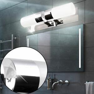 Design Wand Leuchte Bade Zimmer Spiegel Glas Strahler Feucht Raum Lampe silber