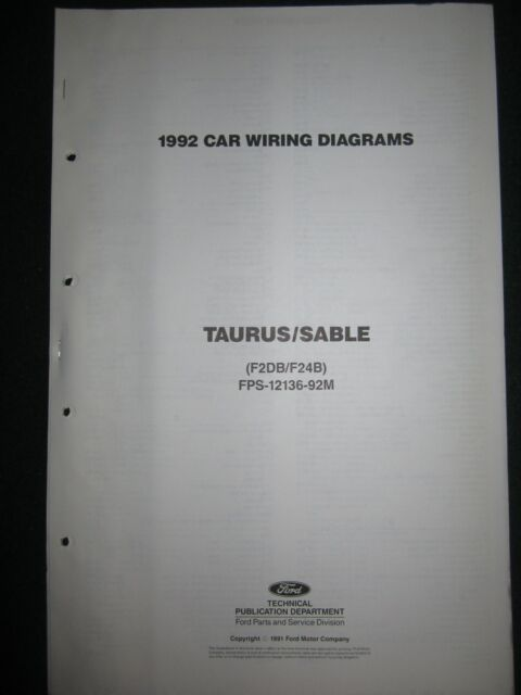 1992 Ford Taurus Sable Electrical Wiring Diagram Manual