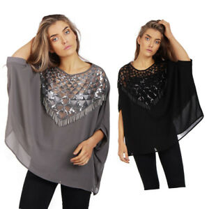 72758d76748a9 Details about Womens Oversized Sequin Poncho Top Ladies Jumper Chiffon Top  Xmas Party Clubwear