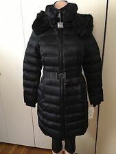 DNKY Women BLACK Down Filled Winter Coat Inner Bib And Faux Leather Size S NWT