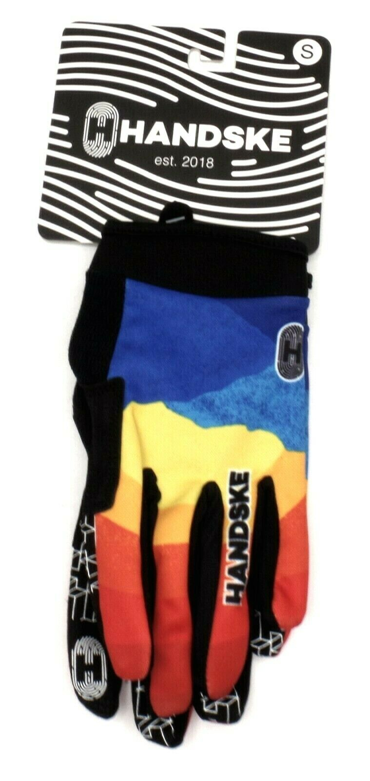 Handske Ridgeline Full Finger Cycling Gloves, Adult Small, Blue/Yellow/Orange/Re