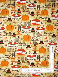 Autumn-Thanksgiving-Dinner-Pumpkin-Pie-Cotton-Fabric-David-Textiles-By-The-Yard