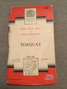 1964 Ordnance Survey Seventh Series One Inch Cloth Map 188 Torquay Incl Salcombe - <span itemprop=availableAtOrFrom>Coventry, United Kingdom</span> - 1964 Ordnance Survey Seventh Series One Inch Cloth Map 188 Torquay Incl Salcombe - Coventry, United Kingdom