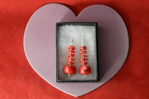 Beautiful Earrings With Red Coral 16.2 Gr.4.5 Cm. Long + Hooks In Gift Box